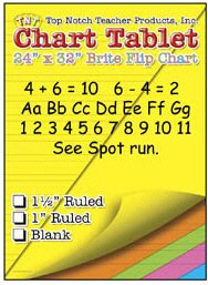5 Pack TOP NOTCH TEACHER PRODUCTS CHART TABLETS 24 X 32 ASSORTED 1/2