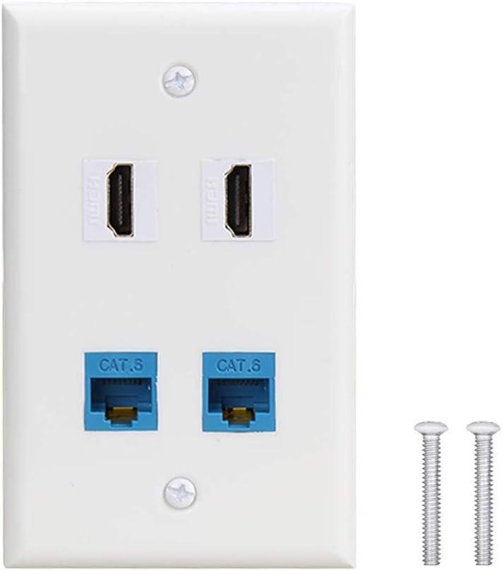 2 Port HDMI Keystone Female to Female Wall Plate /… 4 Port Wall Plate with 2 Port Cat6 Ethernet Female to Female Jack