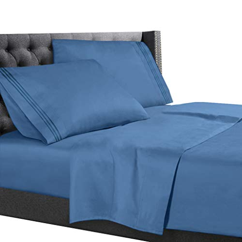 Cal King Size Bed Sheets Set Blue Heaven, Bedding Sheets Set on Amazon, 4-Piece Bed Set, Deep Pockets Fitted Sheet, 100% Luxury Soft Microfiber, Hypoallergenic, Cool & Breathable