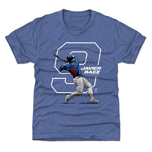 500 LEVEL Javier Baez Chicago Baseball Youth Shirt (Kids Small (6-7Y), Tri Royal) - Javier Baez Number W WHT