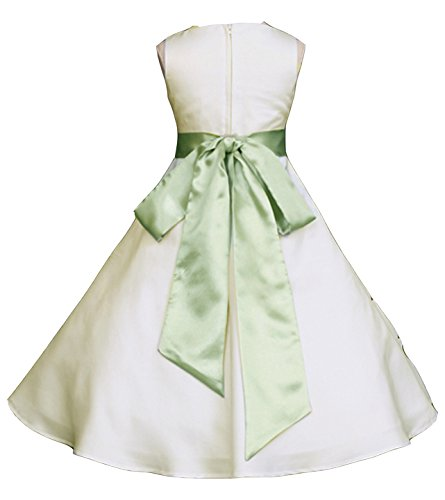 Wedding Pageant Ivory A-Line Matte Satin Jr. Bridesmaid Flower Girl Dress (18, Ivory/Sage)