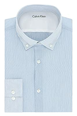 Calvin Klein Men's Stretch Xtreme Slim Fit Stripe Buttondown Collar Dress Shirt