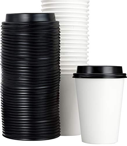 Restaurant Grade 12 Oz Paper Coffee Cups With Recyclable Dome Lids. 100 Pack By Avant Grub. Durable, BPA Free Disposable Cups For Serving Hot Drinks At Kiosks, Shops, Cafes, and Concession Stands -