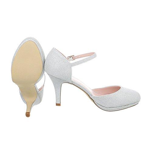Ital-Design Schnür- & Riemchenpumps Damenschuhe Schnür- & Riemchenpumps Pfennig-/Stilettoabsatz High Heels Schnalle Pumps Silber 5015-20