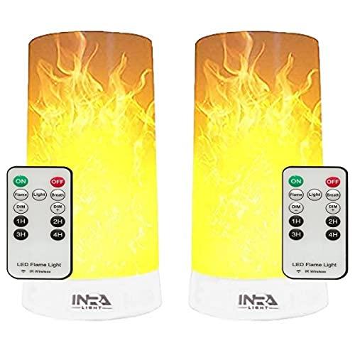 INRA LED Vlamloze Kaarsen met Bewegende Vlam, 2-Pack, Oplaadbare LED Vlamlampjes met Afstandsbediening, Realistische LED…