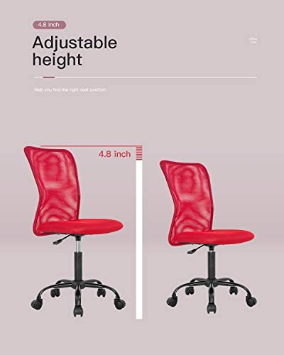 Home Office Chair Ergonomic Desk Chair Mesh Computer Chair With Lumbar Support Rolling Swivel Adjustable Mid Back Task Chair For Girls(Red)