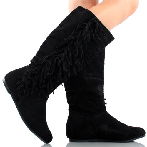 Women's Faux Suede Fringe Moccasin Tassle Knee High Boots Black, Camel. Brown (7.5, (Brown Apache Fringed Shoes)