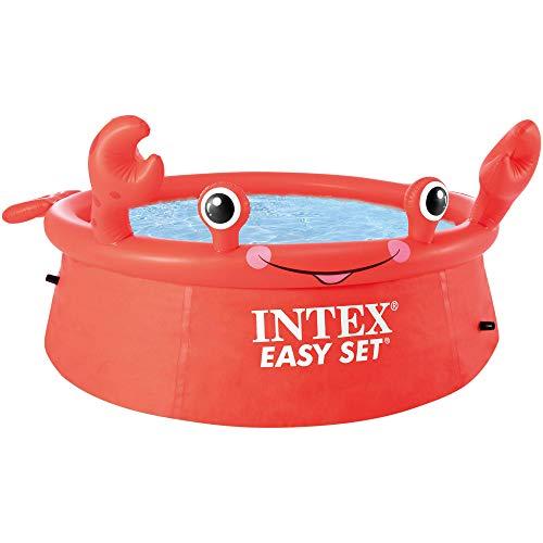 41v8PaPFHZL. SS500 Piscina hinchable infantil INTEX gama Easy Set, formato redondo Medidas: 183x51 cm, capacidad para 880 litros Diseño: cangrejo con ojos y extremidades en relieve hinchable
