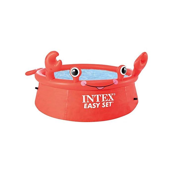 41v8PaPFHZL Piscina hinchable infantil INTEX gama Easy Set, formato redondo Medidas: 183x51 cm, capacidad para 880 litros Diseño: cangrejo con ojos y extremidades en relieve hinchable