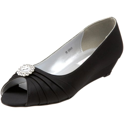 Dyeables Black Satin (Dyeables Women's Anette Low-Heel Wedge, Black, 9 M US)