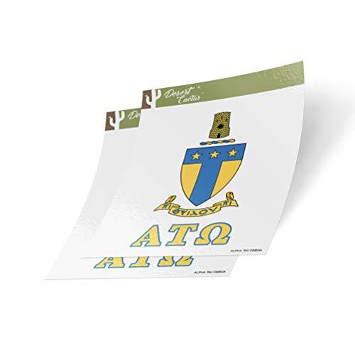 Desert Cactus Alpha Tau Omega Crest & Letter 2-Pack Sticker Decal Greek for Window Laptop Computer Car (Crest Sticker)