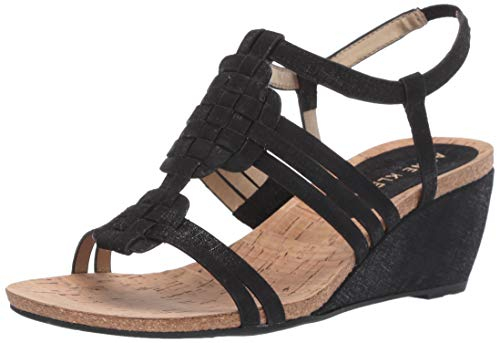 Anne Klein Women's Tilly Wedge Sandal, Black Fabric, 5 M US