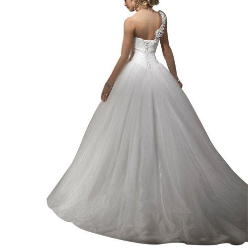 Orangza Ballkleid Eine Netto GEORGE ueber Weiß Brautkleider Satin Hochzeitskleider Schulter Blumen BRIDE 8pqwt5