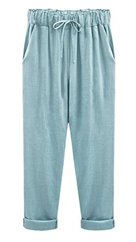ARRIVE GUIDE Women's Plus Size Linen Solid Tie Front Ankle Length Pants sky blue XXX-Large