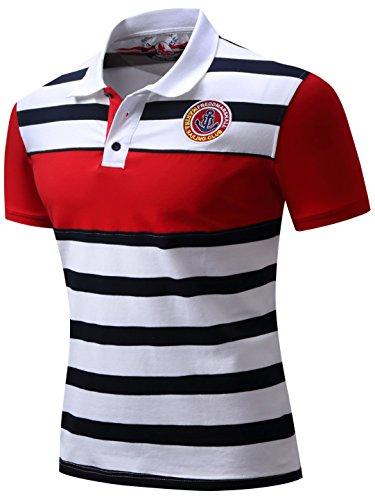 Neleus Men's Striped Short Sleeve Cotton Polo Shirts,624,Red & White & Navy Blue,M,EUR Tag - Shirt Ribbed Polo Striped