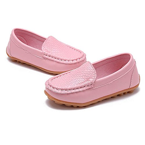 SOFMUO Boys Girls Leather Loafers Slip-On Oxford Flats Boat Dress Schooling Daily Walking Shoes(Toddler/Little Kids) Pink,29 by SOFMUO (Image #3)