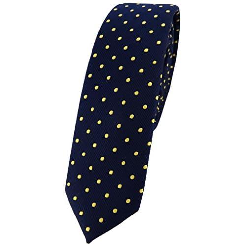 b21241d206 TigerTie corbata estrecha - azul oscuro marina oro lunares (4,5 cm) Lovely