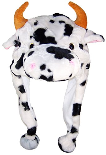 [Best Winter Hats Adult/Teen Animal Character Ear Flap Hat (One Size) - Cow] (Cow Head Hat Adult)