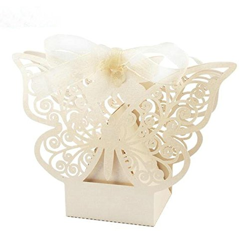 Sorive Pack of 50 PCS Big Butterfly Laser Cut Candy Gift Boxes with Ribbon Wedding Party Favor (Ivory)