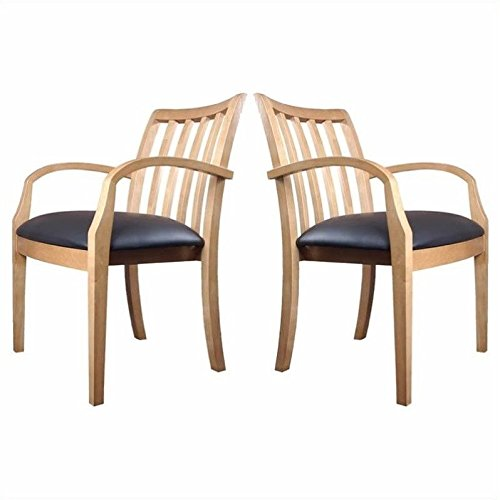 Mayline Mercado Genuine Black Leather Seat & Slat Back Solid Maple Wood Chair (Set of 2)