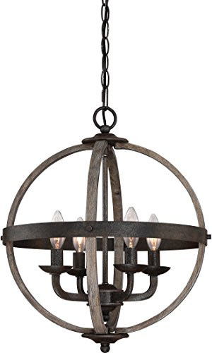 Quoizel FSN5204RK Fusion Industrial Wrought Iron and Faux Wood Chandelier, 4-Light, 240 Watts, Rustic Black (20