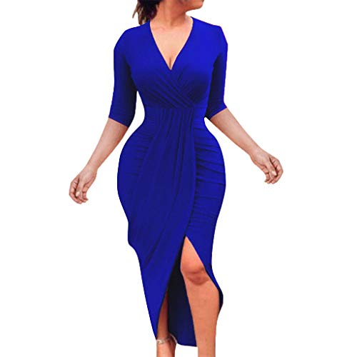 Kimloog Wrap Dress, Women V Neck 3/4 Sleeve Ruched Bodycon Long Maxi Dresses Split Front Sheath Sundress (M, Blue)