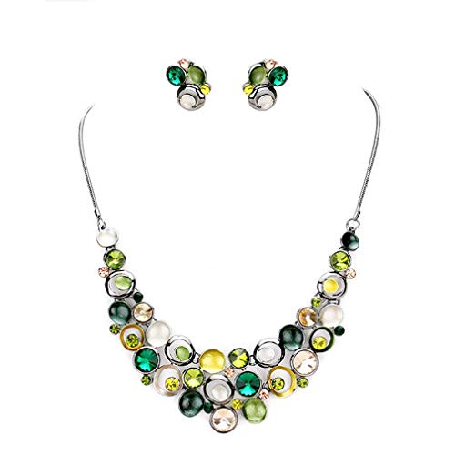 - Urban Chic Women Fashion Jewelry Green Crystal Chunky Design Statement Hematite Necklace Earrings Set