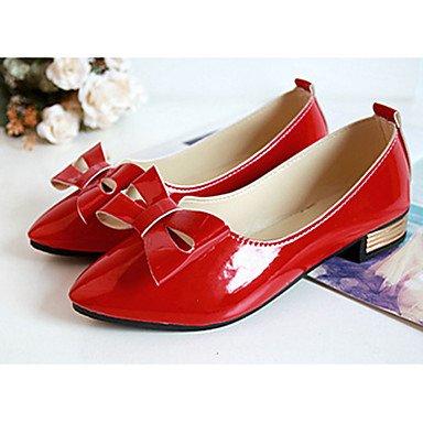Casual lazo rojo de soporte con mujeres Otros Beige Pointed pisos de negro tacón soporte zapatos de Toe sintética Cómodo elegante y las caída rojo RSq7nU