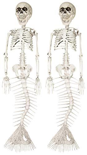Mermaid Skeleton Hanging Halloween Decorations, Set of 2, 16 Inches