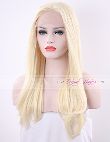 Tripal Hairs Blonde Wigs Handmade Heat Resistant Synthetic Lace Front wig for White Women 24 Inches