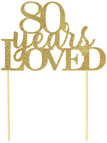 80 Years Loved Gold Cake Topper