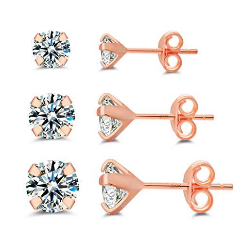 925 sterling silver stud earrings for women,Hypoallergenic 14K Rose gold Plated cubic zirconia earrings studs ((3mm/4mm/5mm)