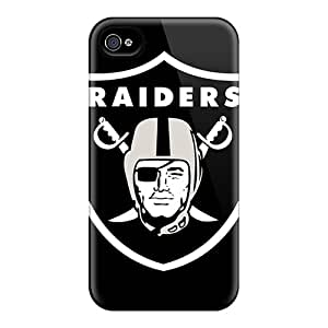 Scratch Protection Hard Cell-phone Cases For Iphone 4/4s With Unique Design Colorful Oakland Raiders Series JoanneOickle