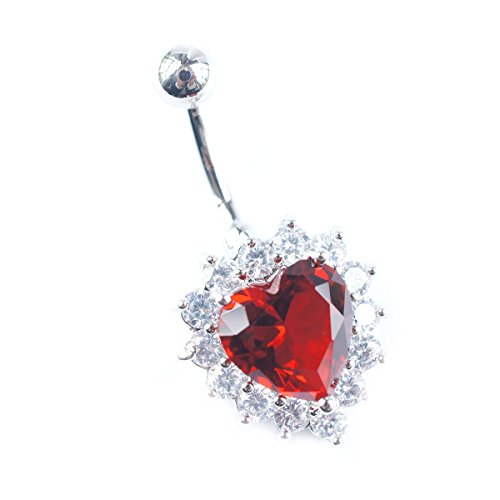 Surrounded with Tiny Rhinestones Heart Shaped Big Faux Gemstone 316L Surgical Steel Navel Ring (Red) (Butterfly Chain Belly Button Ring)