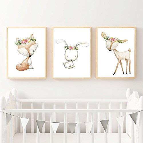 Handmade Whimsical Art Baby Animal Nursery Art Print Framed Nursery Animal Print Nursery Decor Cute Animals with cupcake Illustrated Art