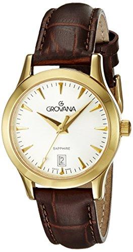 Grovana Women's 3201-1512 Traditional Analog Display Swiss Quartz Black Watch