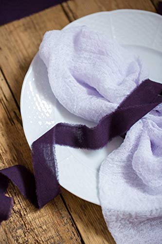 Plum dark violet muslin cotton frayed edges hand dyed ribbon 1