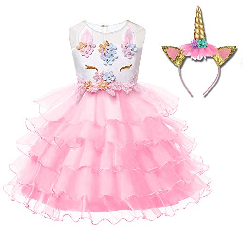 Freeprance Unicorn Costume Unicorn Party Dresses Princess Costumes for Girls 01_XPK_90 -