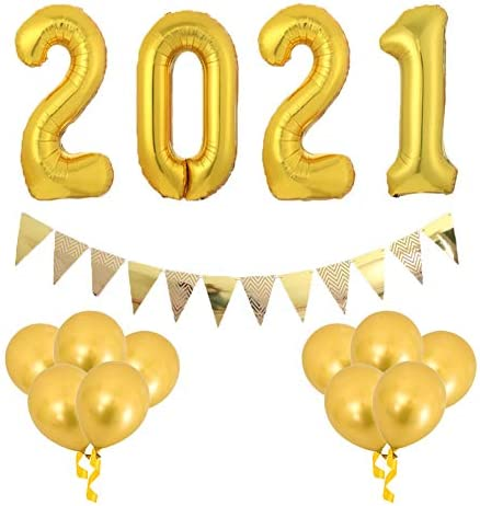 Flymmy 2021 Balloons New Year Gold Set40inch 2021 Balloon Numbers 10 PCS Gold Latex Balloons & Triangle Banner Flags 2021 Foil Balloons for 2021Years Eve Party and 2021 Graduation Decorations