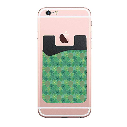 Mandala Hippie Boho Floral Swirls Detailed Emerald Green 2 Pack Phone Card Holder,Sticky Phone Wallet Adhesive Compatible with iPhone Samsung Android Cell Phone Table (Floral Swirls Iphone)