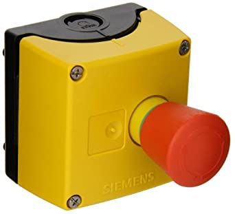 Siemens 3SB38 01-0DG3 Standard Operator Enclosure and Emergency Stop Mushroom Pushbutton, Molded Plastic Enclosure, 1 Pilot Device, 40mm Head, Positive Latching, Rotate To Unlatch, Yellow Top, 1 NC Contact Block Function