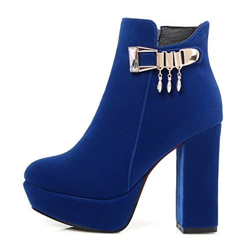 AllhqFashion Womens Low Top Zipper Frosted High Heels Round Closed Toe Boots, Blue, 44