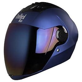Steelbird Air SBA-2 Matt Full Face Helmet with Iridium Blue Visor (Blue, Large), Expanded Polystyrene and ABS