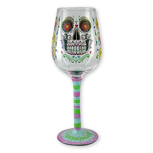 Live Love Wine Hand Painted Wine Glass with Rhinestones and Glitter - Sugar Skull ()