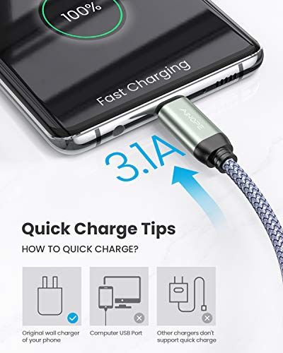 USB C Cable Fast Charging 3A Fast Charge, AINOPE [2-Pack 6.6ft+6.6ft] USB-A to Type-C Charger Cable,Durable Braided USB C Cord Compatible with Galaxy Note 10 9 8 S10 S10E S9 S8 Plus,LG V30 V20 G6