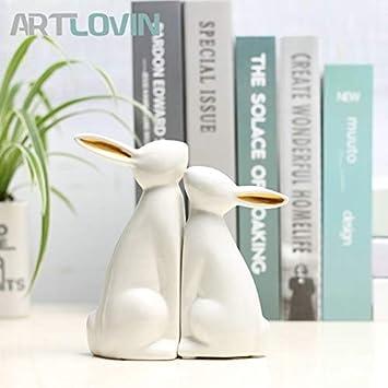 Nordic Golden Ceramic Penguin Couple Modern Statue Figure Sculpture Ornament Home Decor Home, Furniture & DIY