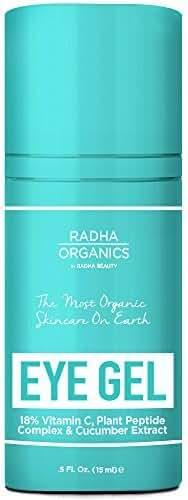Radha Organics Eye Gel for Dark Circles, Puffiness, Wrinkles and Bags - 100% Natural