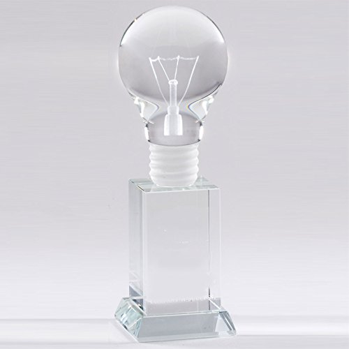 Awards and Gifts R Us Customizable 8 x 2-1/2 Inch Optical Crystal Light Bulb Award, Includes Personalization