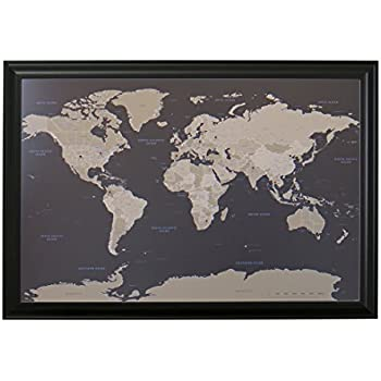 Amazon push pin world travel map with black frame and pins earth toned world push pin travel map with black frame and pins 24 x 36 sciox Images