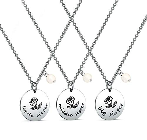 Zuo Bao 3 Sister Necklace Big Sister Middle Sister Little Sister Necklace Set Sisters Gift Best Friend Necklace (3PC Sister Set) -
